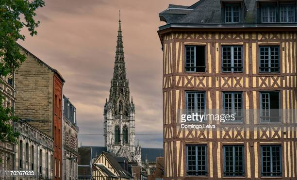 tower of church of saint-maclou in rouen - rouen stock pictures, royalty-free photos & images