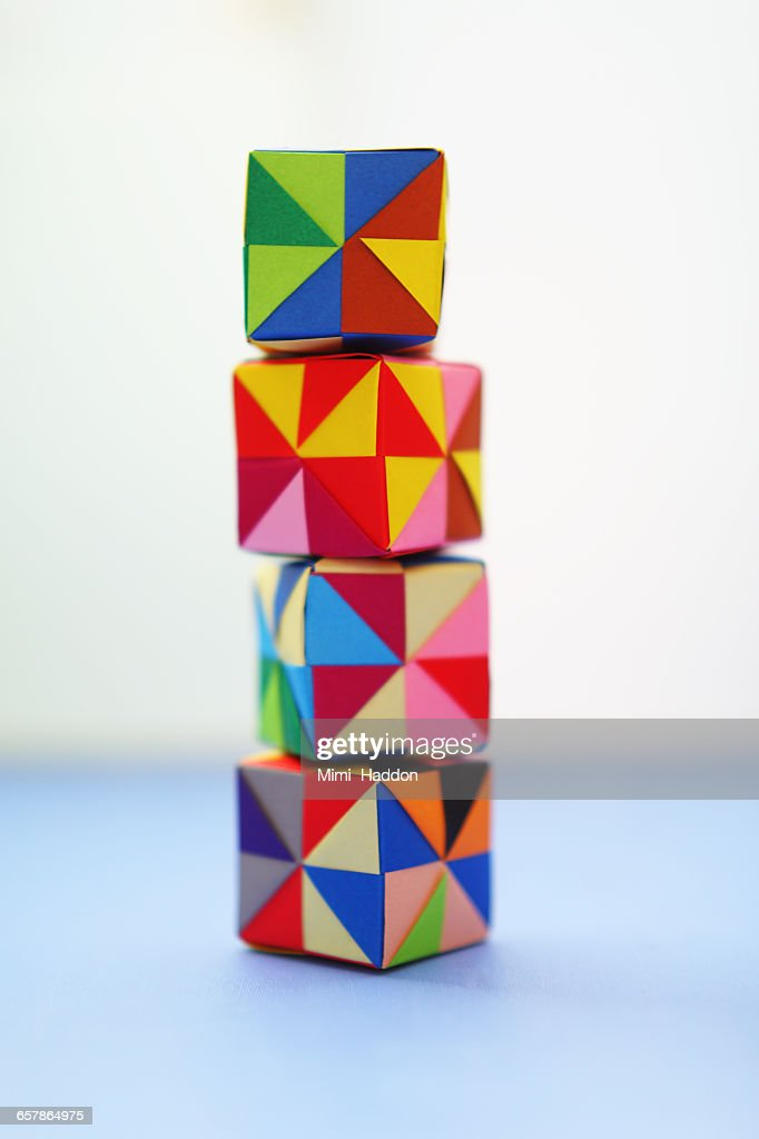 Tower Of Colorful Origami Blocks Stock Photo Getty Images