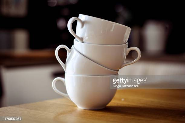tower of cups - saucer stock pictures, royalty-free photos & images