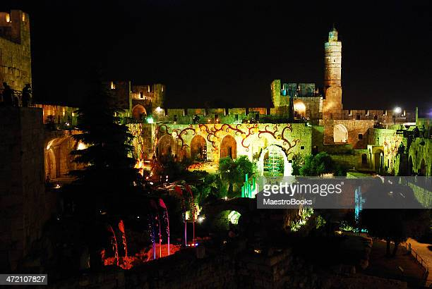 tower of david light show in jerusalem - david and goliath stock photos and pictures