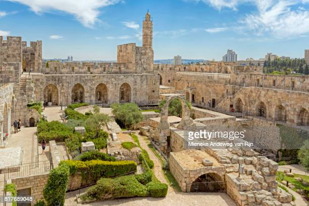 Tower of David with the archaeological finds in its courtyard and the Ottoman minaret, Jersusalem, Israel