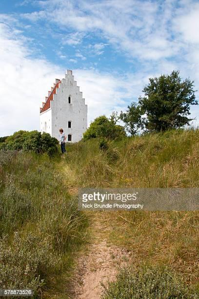 Tower of Den Tilsandede Kirke (Buried Church) buried by sand drifts, Skagen, Jutland, Denmark, Scandinavia, Europe