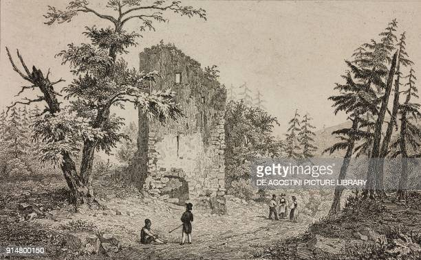 Tower of Gesslerburg Castle Kussnacht Canton of Schwyz Switzerland engraving by Rouargue from Histoire et description de la Suisse et du Tyrol by...