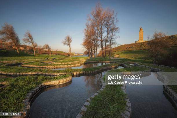 tower of hercules, national monument of spain - patrimonio de la humanidad por la unesco stock pictures, royalty-free photos & images
