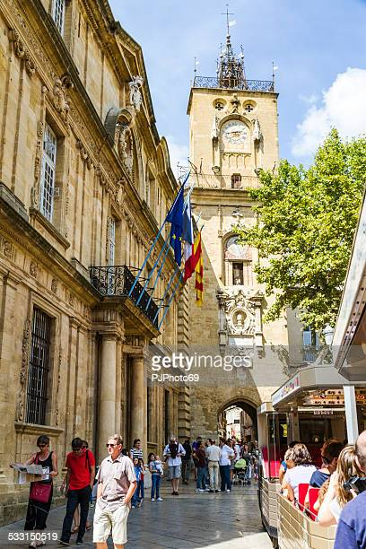 tower of hotel de ville in aix en provence - pjphoto69 stock pictures, royalty-free photos & images