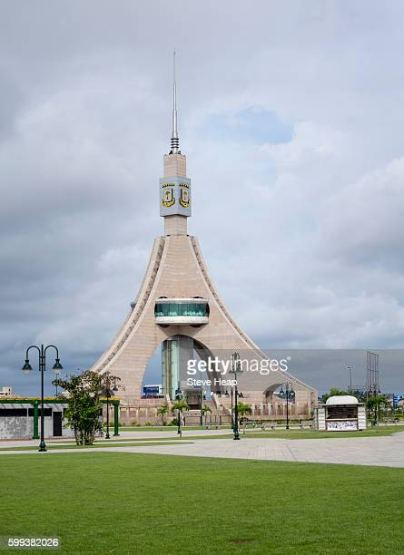 tower of liberty a monumental tower of 62 m height and containing a revolving restaurant at the height of 25 m in bata, equatorial guinea - equatorial guinea stock pictures, royalty-free photos & images