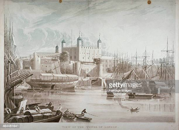 Tower of London 1819 View from the River Thames with boats and passengers on the river