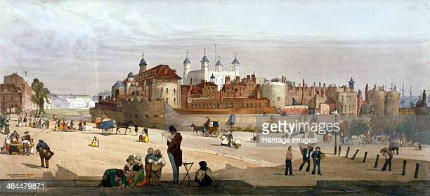 Tower of London 1842 View of the Tower of London and the Royal Mint from Great Tower Hill with a busy street scene including children playing and an...
