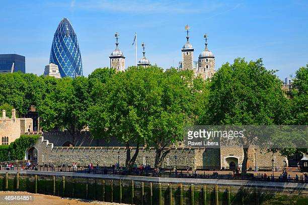 Tower of London and Swiss Re Tower aka Gherkin in the City of London