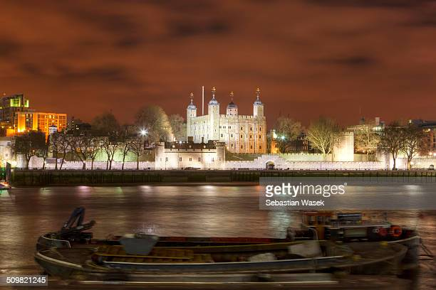 Tower of London at night, London, England, Europe.
