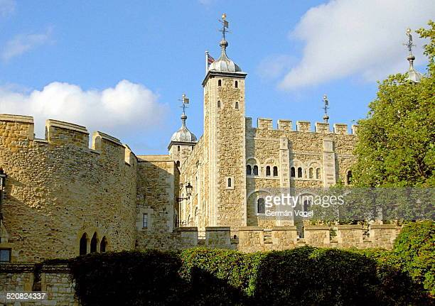 Tower of London castle inside walls and castle facade