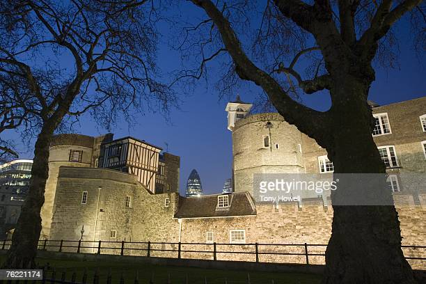 Tower of London with The Gherkin in the background, Dusk, London, England, UK