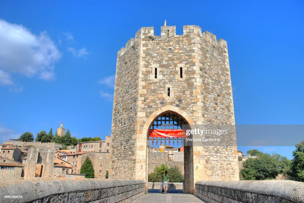Tower of Medieval Bridge in Besalú - Catalonia, Spain : Stock Photo