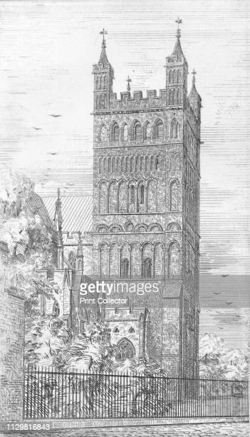 'Tower of North Transept Exeter Cathedral' 1847 From Exeter Cathedral by George Truefitt [ London 1847] Artist George Truefitt