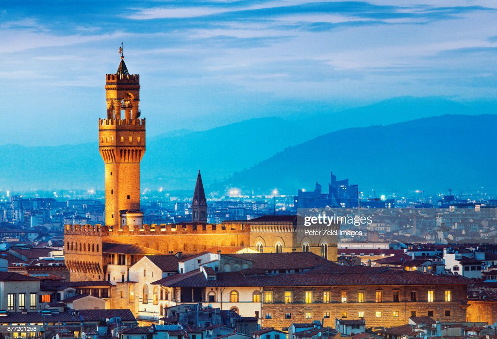 Tower of Palazzo Vecchio in Florence at dusk : Stock Photo