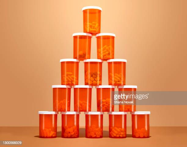 "tower of pill bottles - ""shana novak"" stock pictures, royalty-free photos & images"