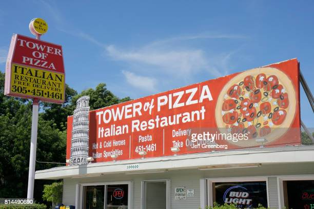 Tower of Pizza Italian Restaurant sign