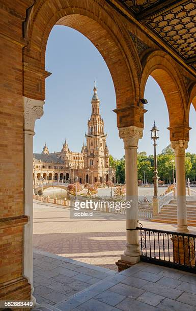 tower of plaza de espana in seville, spain - seville stock pictures, royalty-free photos & images