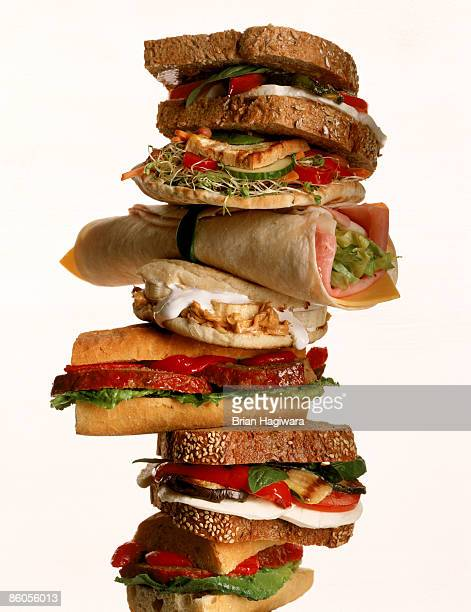 tower of sandwiches - grinder sandwich stock pictures, royalty-free photos & images