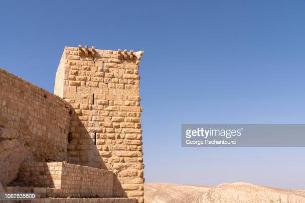 a tower of shobak castle - archaeology stock pictures, royalty-free photos & images