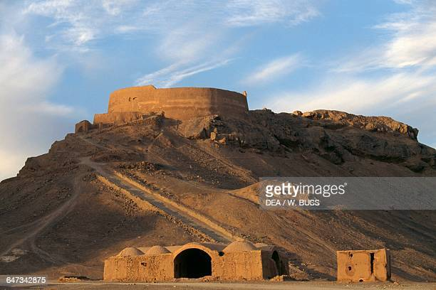 Tower of Silence and Zoroastrian village near Yazd Iran
