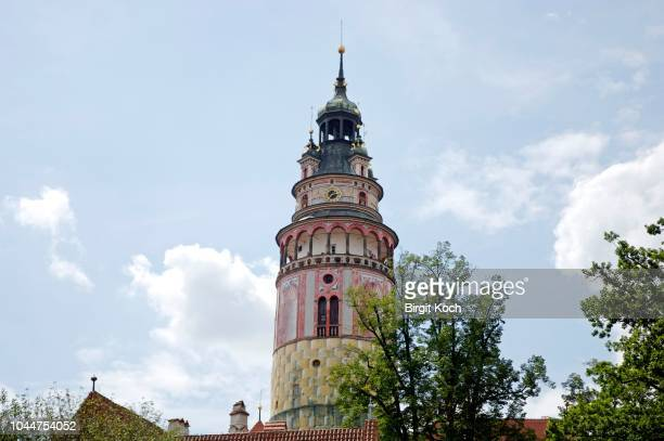 tower of the castle, cesky krumlov, south bohemia, czech republic - cesky krumlov castle stock photos and pictures