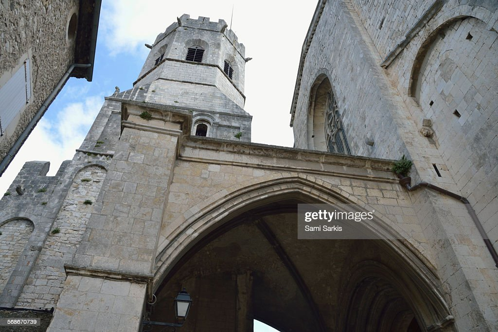 Tower of the cathedral, Viviers, France : Stock Photo