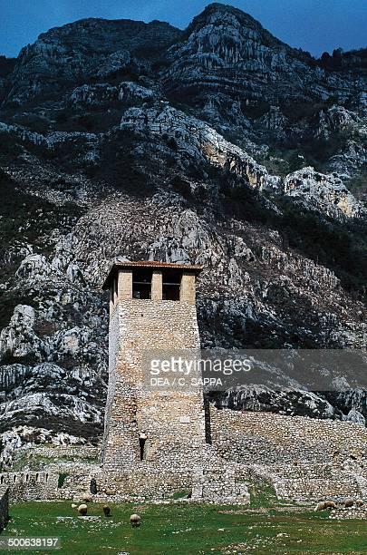 Tower of the citadel, castle of George Kastrioti known as Skanderbeg, Kruje, Albania, 5th-12th century.