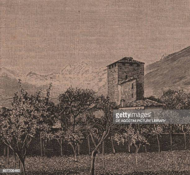 Tower of the prisons or of the Balivi with the Grand Combin in the background Aosta Aosta Valley Italy woodcut from Le Cento citta d'Italia...