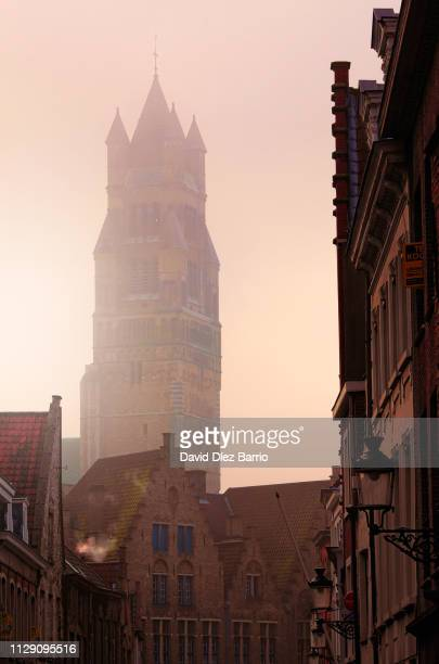 Tower of the Sint-Salvator Cathedral in Bruges seen from one of the city streets