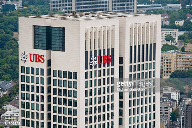 Tower of UBS Bank on August 14 2015 in Frankfurt Germany