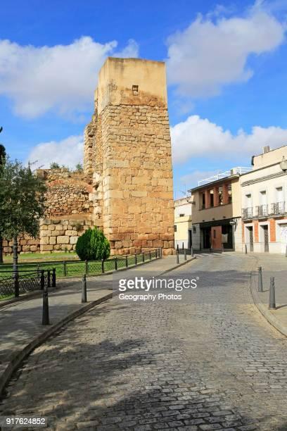 Tower on walls of Alcazaba castle building Merida Extremadura Spain
