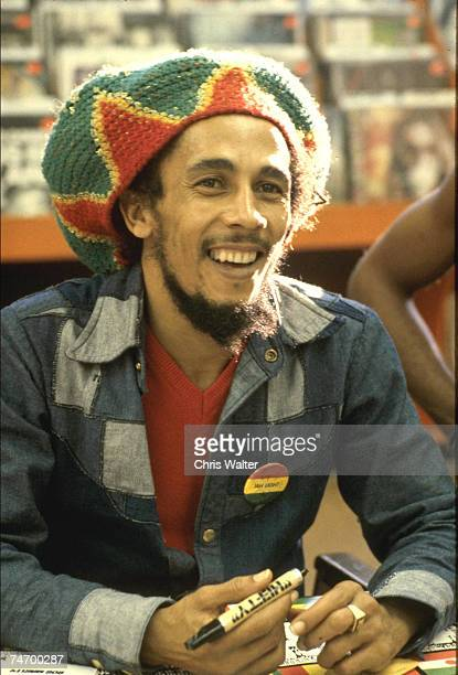BOB MARLEY 1979 Tower Records Hollywoodl during Bob Marley File Photos in Hollywood Tower Records California