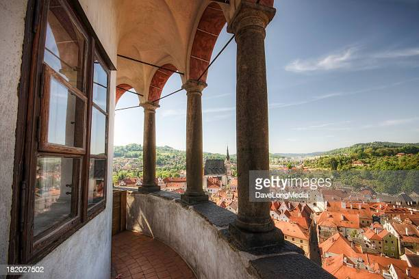 tower scenic in historic europe - cesky krumlov castle stock photos and pictures