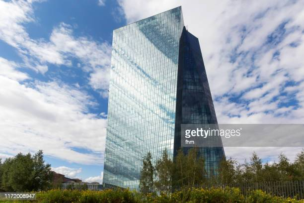 ecb tower - seat of the european central bank in frankfurt/ main, germany - seat of the european central bank stock photos and pictures