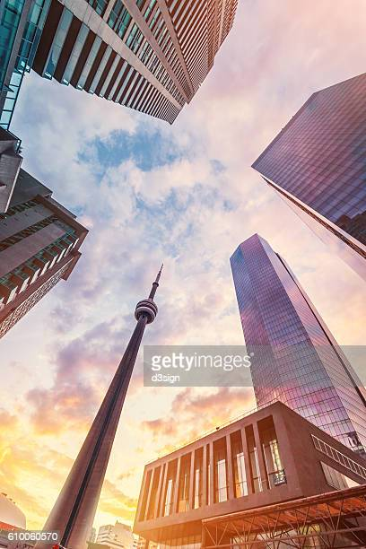 cn tower, the most defining landmark of toronto and modern skyscrapers in sunrise - cn tower stock pictures, royalty-free photos & images