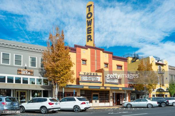 tower theatre in downtown bend oregon usa - bend oregon stock photos and pictures