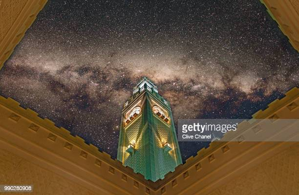 tower under the milky way - saudi stock pictures, royalty-free photos & images