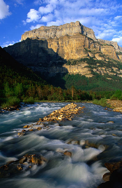 Towering cliffs above the River Arazas in the early evening, Ordesa y Monte Perdido National Park, Spain
