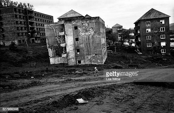 Towering Soviet style housing estates in the town of Copsa Mica Romania May 19 2008 The town is known for its status as one of the most polluted in...