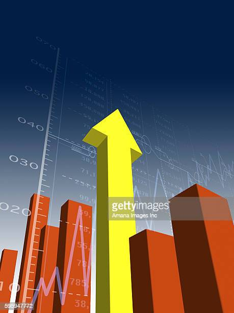Towering Yellow Arrow in Bar Chart