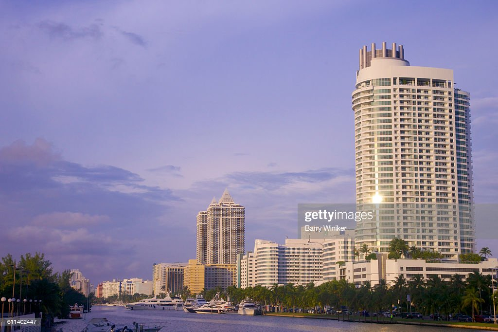 Towers Along Intercoastal Waterway Miami Beach Stock Photo