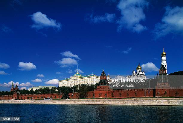 Towers and walls of the Kremlin, Ivan the Great bell tower, Cathedral of the Annunciation and Grand Palace, view from the Moskva River, Moscow...