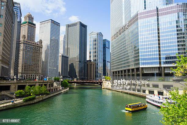 towers by the chicago river, chicago - trump international hotel & tower chicago stock pictures, royalty-free photos & images