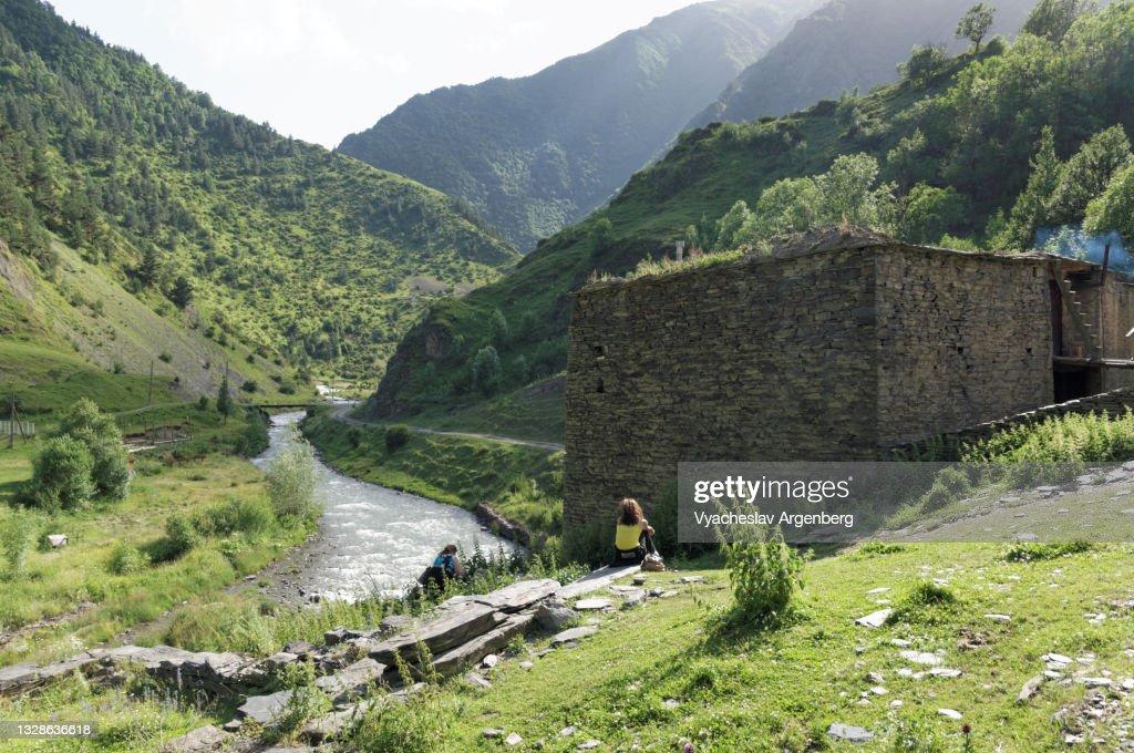 Towers in Shatili, Caucasus Mountains, Georgia : Stock Photo