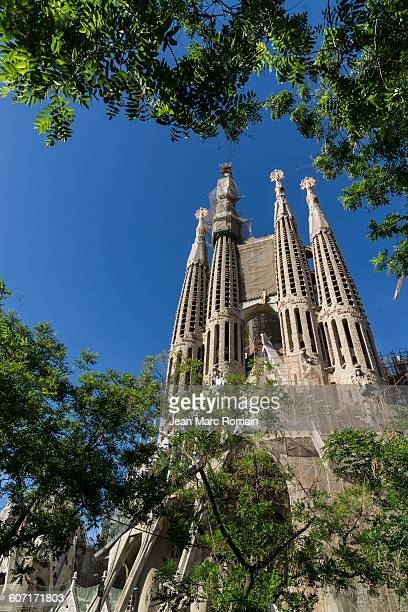 towers of church sagrada familia - familia stock pictures, royalty-free photos & images