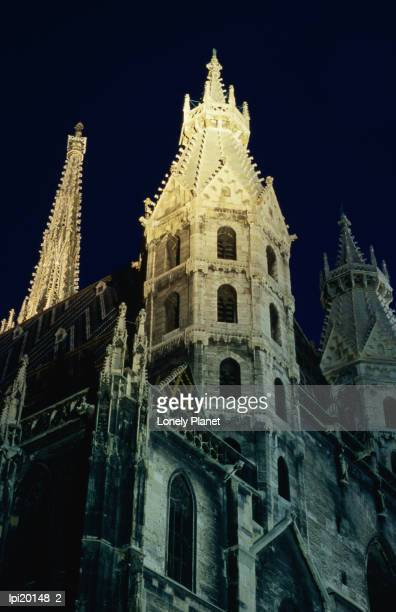 towers of stephansdom cathedral at night, innere stadt, low angle view, vienna, austria - stadt stock pictures, royalty-free photos & images