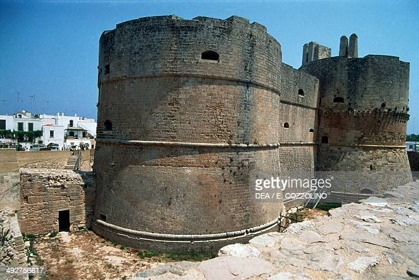 Towers of the Aragonese castle 16th century Otranto Apulia Italy