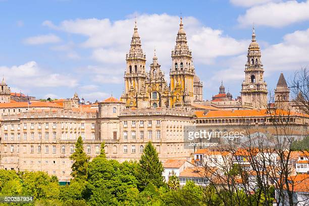 towers of the cathedral of santiago de compostela in spain - santiago de compostela stock pictures, royalty-free photos & images