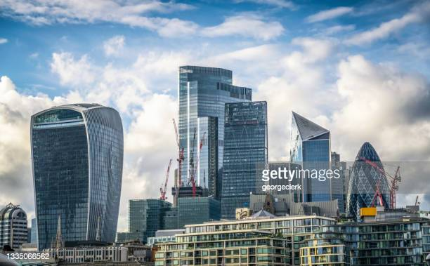 towers of the city of london - skyline stock pictures, royalty-free photos & images